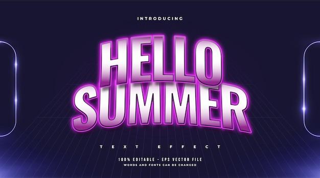 Witam lato tekst w kolorowym stylu retro z zakrzywionym efektem. edytowalny efekt tekstowy