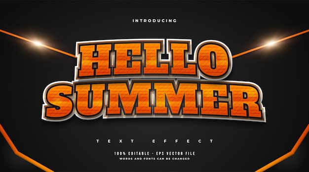 Witam lato tekst w pomarańczowym gradiencie z efektem tekstury. edytowalny efekt stylu tekstu