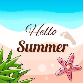 Witam lato tło. ilustracja tropikalnych liści palmowych