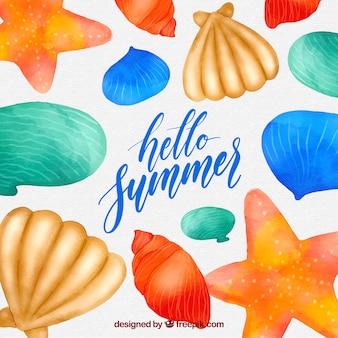Witam lato tło z muszli w stylu przypominającym akwarele
