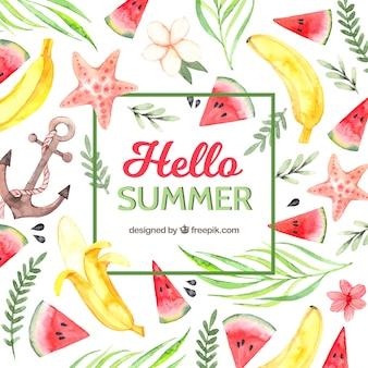 Witam lato tło z owoców i roślin w stylu przypominającym akwarele