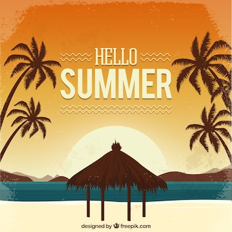 Witam lato tło z plaży w stylu vintage