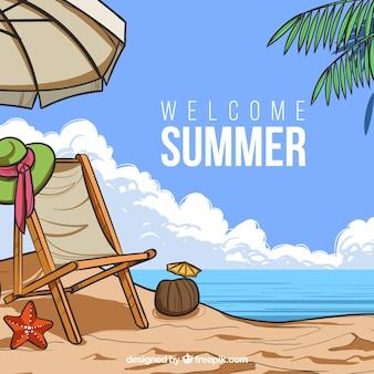 Witam lato tło z widokiem na plażę