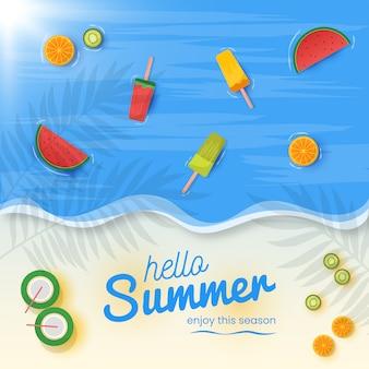 Witam lato tło ze świeżych owoców i lodów