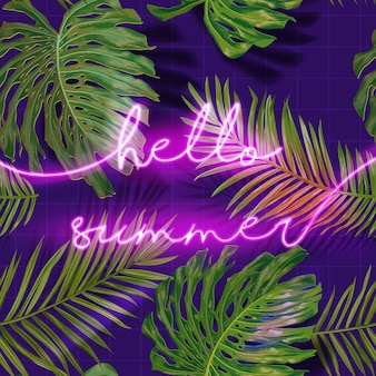 Witam lato typografia banner z liści palmowych. lato neon szyld tło. tropikalny podświetlany plakat z egzotycznymi roślinami do reklamy. ilustracja wektorowa
