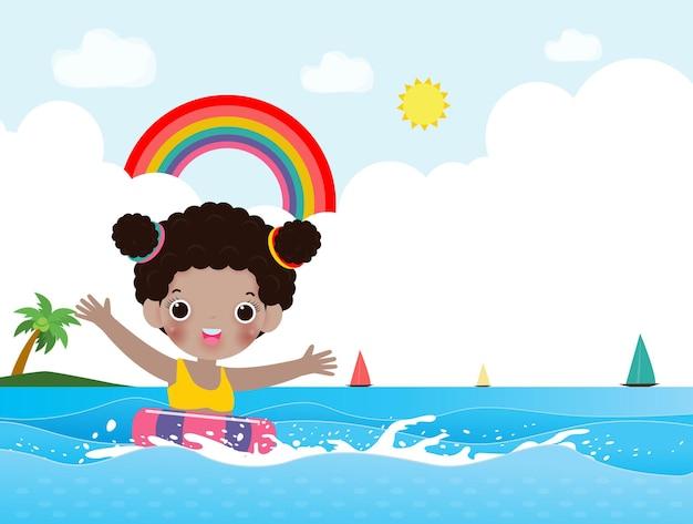 Witam lato uroczych dzieciaków w pływaniu i gumowym pierścieniu w morzu kreskówki dla dzieci