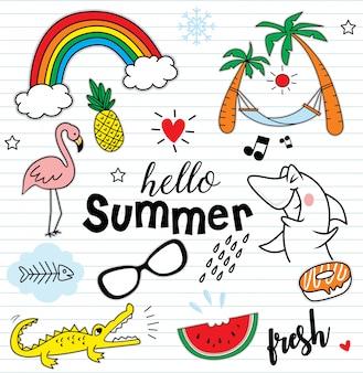 Witam lato zestaw kolorowych elementów