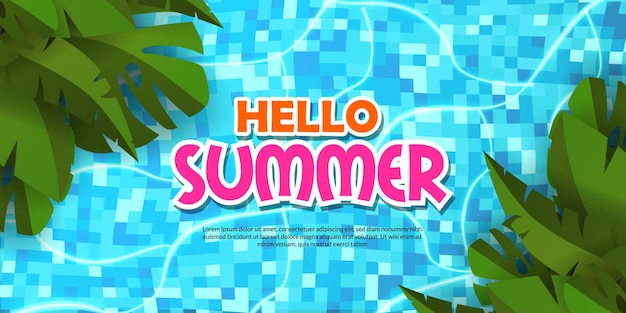 Witam letni baner basen płaskie zielone tropikalne liście