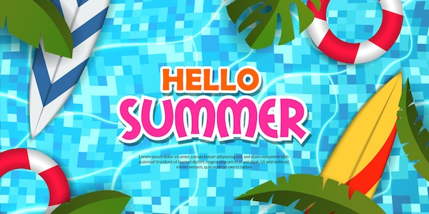 Witam letni baner basenowy płaskie tropikalne liście z deską surfingową do pływania