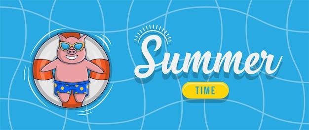 Witam letni baner z projektem postaci ilustracja świnia pływająca