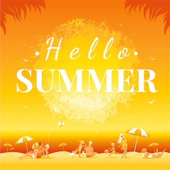 Witam letni tekst. zmierzchu krajobraz z morze plażą. ilustracja wektorowa podróży rodziny.