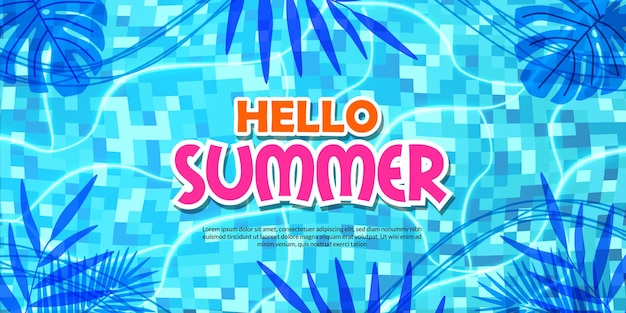 Witam letni transparent basen płaski tropikalny pozostawia cień