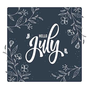 Witam lipca napis z kwiatowym tłem ramki