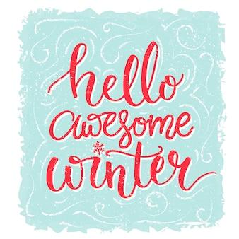 Witam niesamowita zimowa inspiracja mówiąca zimowa kartka z życzeniami czerwony napis na tle mrozu