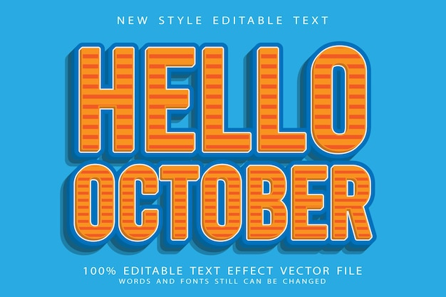 Witam październik edytowalny efekt tekstowy wytłoczony w nowoczesnym stylu