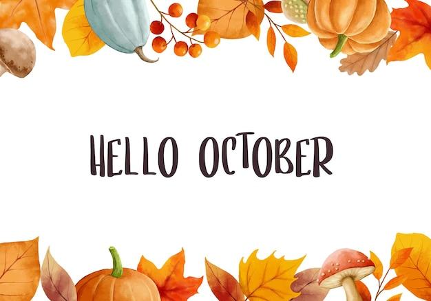 Witam październik z kwiecistymi liśćmi kwiat rama jesienny październik ręcznie rysowane szablon napisu