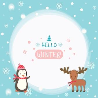 Witam sezon zimowy z pingwinem i łosia.