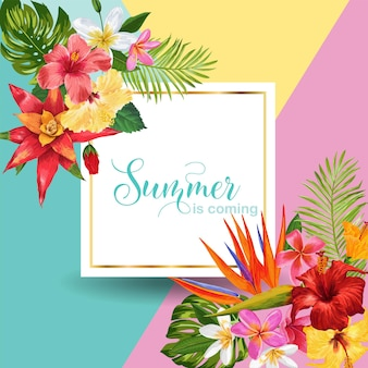 Witam summer tropic design. tropikalne kwiaty hibiskusa tło plakat, sprzedaż transparent, afisz, ulotki. kwiatowa kompozycja rocznika. ilustracja wektorowa