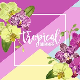 Witam summer tropic design. tropikalne kwiaty orchidei tło plakat, sprzedaż transparent, afisz, ulotki. kwiatowa kompozycja rocznika. ilustracja wektorowa