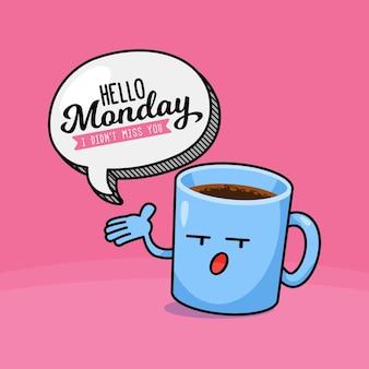 Witam w poniedziałek tło z filiżanką kawy