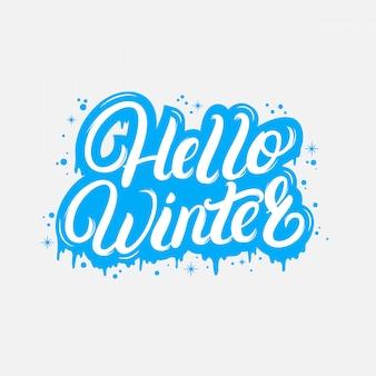 Witam winter odręczny napis cytat