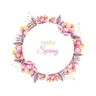 Witam wiosnę akwarela kwiatowy rama z kolorowymi kwiatami