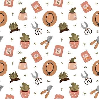 Witam wiosnę i ogrodnictwo. wzór z narzędzia ogrodnicze, kwiaty, rośliny w doniczkach i inne słodkie elementy ogrodowe w stylu płaskiej kreskówki.