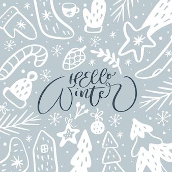 Witam zima wektor kaligraficzny napis tekst i elementy skandynawskie doodle boże narodzenie