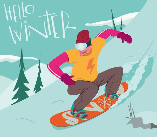 Witam zimę ze zjazdem snowboardzisty