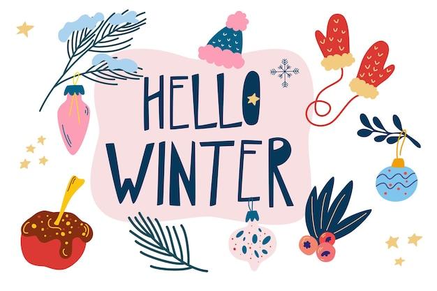 Witam zimowe przedmioty. przytulna zima. zestaw elementów sezonu zimowego. ręcznie rysowane kolekcja z symbolami nowego roku i ferii zimowych. nowoczesna kolorowa ilustracja wektorowa na plakat, kartki okolicznościowe, przedszkole