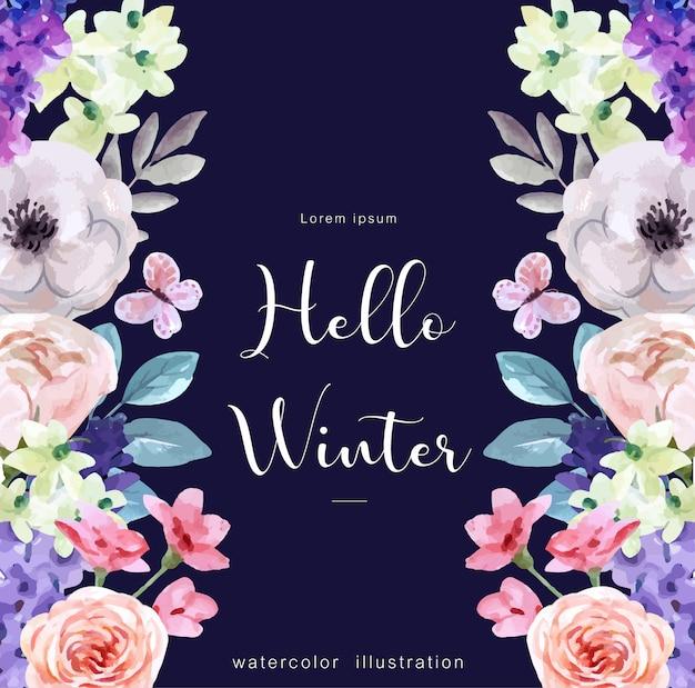 Witam zimowe tło akwarela z atrybutami zimy