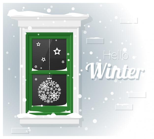 Witam zimowe tło z malowaniem okien