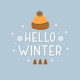 Witam zimowe wakacje ręcznie rysowane ilustracja z kolorowymi ciepłymi kapeluszami płatki śniegu choinki