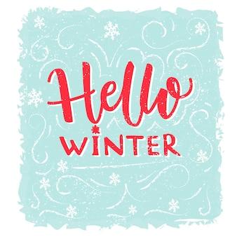 Witam zimowy baner tekst na niebieskim tle mrozu z ręcznie rysowane płatki śniegu zimowe pozdrowienia