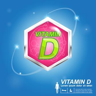 Witamina d odżywianie i witamina - koncepcja produktów z logo dla dzieci.
