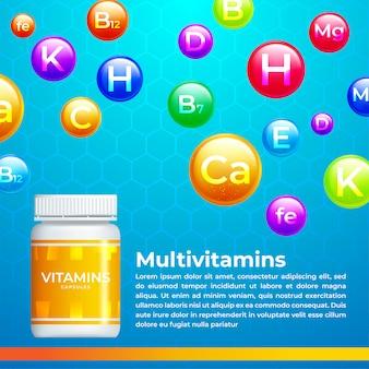 Witamina medyczne, tło mineralne. kompleks multiwitaminowy kapsułki pigułki. ilustracja