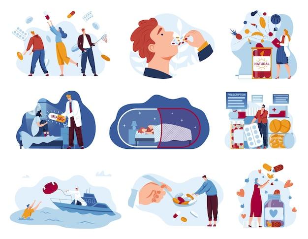 Witaminy leki pigułki wektor zestaw ilustracji, kreskówka płaski farmaceuta pomaga pacjentom medycyny zapobiegawczej aptece