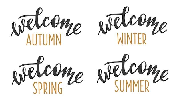 Witamy 4 pory roku zestaw ręcznie rysowane ikony logo napis
