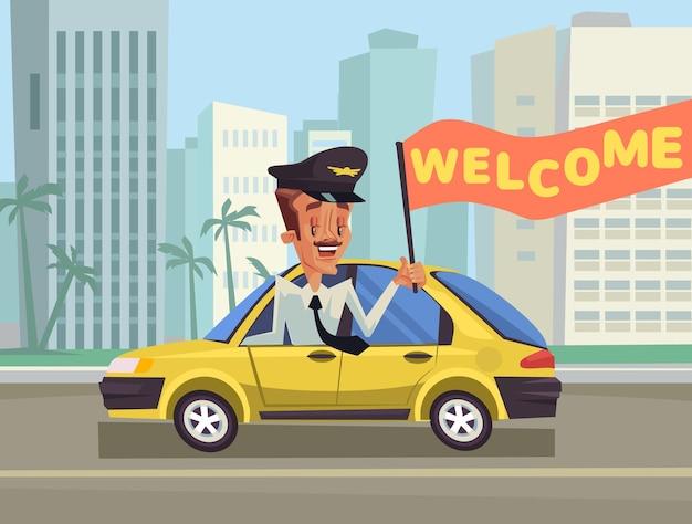 Witamy ilustracja kreskówka taksówkarza