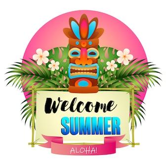 Witamy letni plakat. tiki plemienna drewniana maska