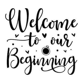 Witamy na naszym początku unikalny element typografii premium vector design