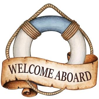Witamy na pokładzie boi ratunkowej w stylu przypominającym akwarele z wiadomością ze starożytnego zwoju