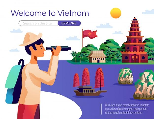 Witamy na stronie docelowej wietnamu i szablonie internetowym