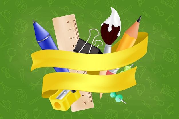 Witamy ponownie w szkole - zestaw zawiera ołówek, linijkę, długopis, temperówkę, pinezkę, spinacz, pędzel. ilustracja z realistycznymi przedmiotami edukacyjnymi i żółtą wstążką na wzór