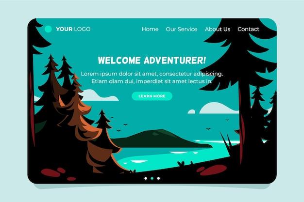 Witamy poszukiwacza przygód, strona docelowa turystyki lokalnej
