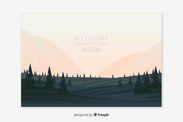 Witamy stronę docelową z gradientowym krajobrazem