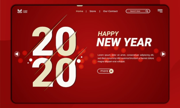 Witamy w 2020 roku, temacie noworocznym z efektem wycinania na stronie docelowej