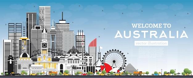 Witamy w australii skyline z szarymi budynkami i ilustracją wektorową błękitnego nieba