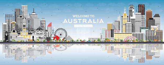 Witamy w australii skyline z szarymi budynkami, niebieskim niebem i refleksami. ilustracja wektorowa. koncepcja turystyki z architekturą. australia gród z zabytkami. sydnej. melbourne.