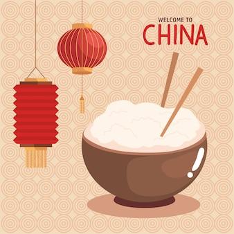 Witamy w chinach z miską ryżu